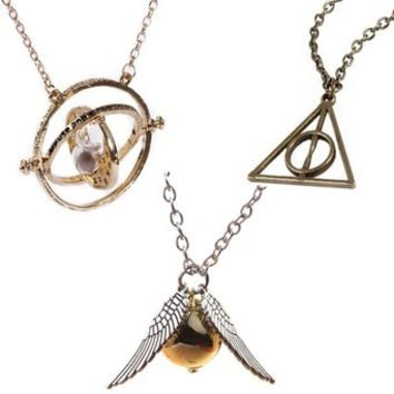 [Pack of 3 Necklaces] Harry Potter Inspired Hermione Granger's Gold Time Turner + Bronze Deathly Hallows Symbol Pendant Necklace + Silver Double Wings Golden Snitch Necklace - Gift Box