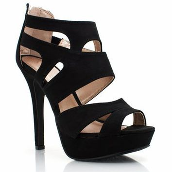 strappy suede platforms $30.00 in BLACK GREEN - Heels | GoJane.com