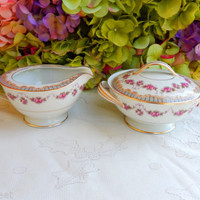 Beautiful Vintage Noritake Porcelain Sugar & Creamer ~ Rose Swags ~ Scrolls