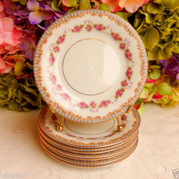8 Beautiful Vintage Noritake Porcelain Side Plates ~ Rose Swags ~ Scrolls