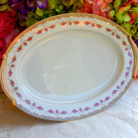 Beautiful Vintage Noritake Porcelain Serving Platter ~ Rose Swags ~ Scrolls #2