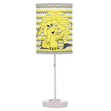 Funny Yellow Chevron Elephant Kid's Lamp