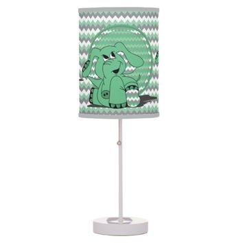 Funny Green Chevron Elephant Kid's Lamp