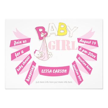 Bundle of joy, pink banner modern baby girl shower invites