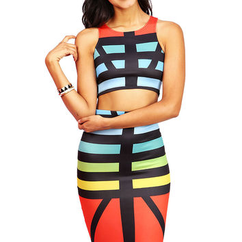 Rainbow Stripe Two Piece | Trendy Sets at Pink Ice