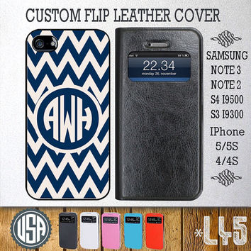Custom Navy Chevron Leather Flip Cover @ Samsung Galaxy S4 case , Samsung S3 cover , Samsung Note 3 Note 2 , IPhone 5 5S , IPhone 4 4S L45