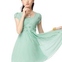 Green Day Dress - V-Neck Lace Roses Dress Green | UsTrendy