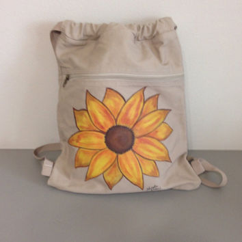 Sunflower Drawstring Backpack.