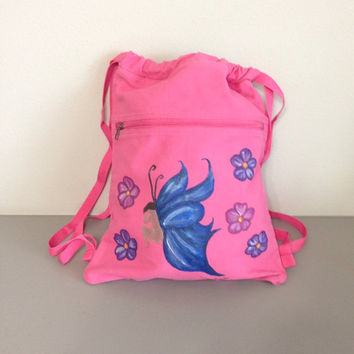 Backpack with Hand Painted Fairy & Flowers