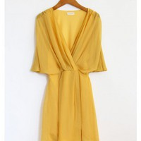 Yellow Sheer Flowy Dress