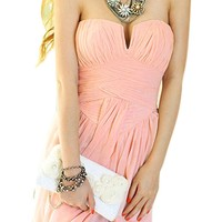 Lookbookstore Women Summer Chiffon Strapless V Neck Pleated Skirt Bodycon Dress
