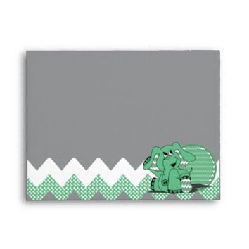 Cute Funny Chevron Green Elephant Envelope