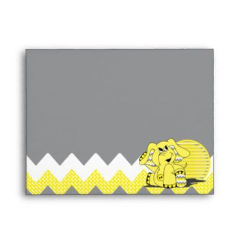 Cute Funny Chevron Yellow Elephant Envelope