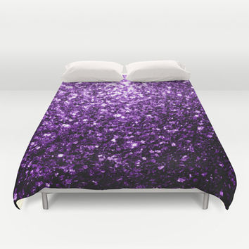 Beautiful Purple glitter sparkles Duvet Cover by PLdesign