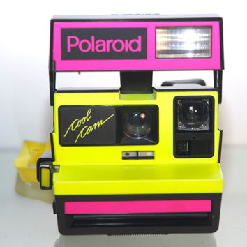Vintage Neon Polaroid Cool Cam Works Pink Yellow Film Tested Instant Camera Works Great