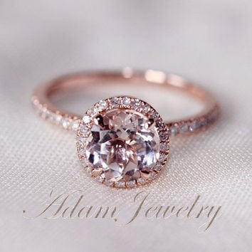Round Cut  7mm VS  Halo Morganite Ring 14K Rose Gold SI/H Diamonds Wedding Ring /Engagement Ring/…
