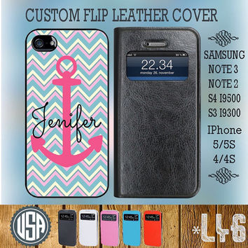 Custom Your Name Anchor Chevron Leather Flip Cover @ Samsung Galaxy S4 case S3 , Samsung Note 3 Note 2 , IPhone 5 5S , IPhone 4 4S L46