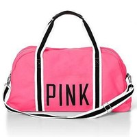 NWT VICTORIA'S SECRET *PINK* LARGE SPORTY DUFFLE BAG LUGGAGE TRAVEL SCHOOL BEACH