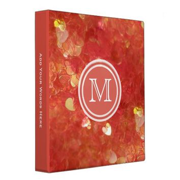 Monogram: Orange Heart Confetti Binder