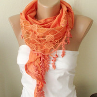 Orange Cotton Scarf with Pine leaf tassel Lace by Periay on Etsy