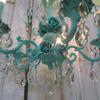 Large chandelier hand painted aqua sea foam ornate large metal cottage roses vintage crystals home decor ceiling fixture anita spero