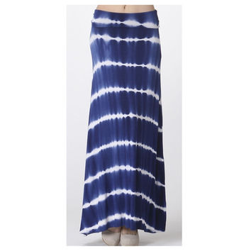 In Style Navy TieDye Maxi Skirt