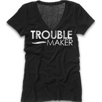 "Women's ""Trouble Maker"" V-Neck Tee by Badcock Apparel (Black)"