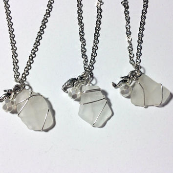 Bridesmaid Sea Glass Necklaces THREE Authentic White Beach Jewelry Seahorse Necklace Bridesmaid Jewelry Friendship Gift