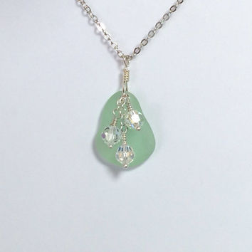 Green Sea Glass Necklace Beach Necklace Peridot Jewelry Beach Jewelry Friendship Gift