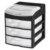 Sterilite 3-Drawer Desktop Storage Unit - Black
