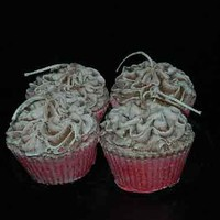 Set of 4 Chocolate Covered Strawberry Cupcake Candles Delicious
