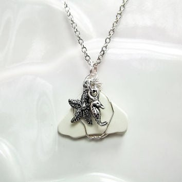 Sea Glass Necklace Beach Jewelry White Ceramic Necklace Starfish Seahorse Necklace Friendship Gift