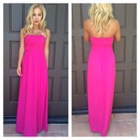 Sweet Heart Strapless Embroidered Maxi Dress - FUCHSIA