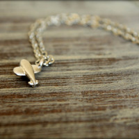 Itty Bitty Airplane Necklace in Matte Silver