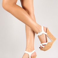 Bamboo Laura-01 Leatherette Cut Out Cork Platform Wedge