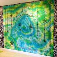Handmade Large Moon and Stars Tie-Dye Tapestry