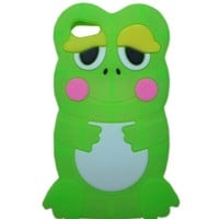 JBG Green iphone 5C Cute 3D Cartoon Animal Frog Soft Rubber Silicone Skin Case Protective Cover for Apple iPhone 5C