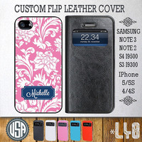 Custom Your name floral Leather Flip Cover @ Samsung Galaxy S4 case Samsung S3 cover , Samsung Note 3 Note 2 , IPhone 5 5S , IPhone 4 4S L48