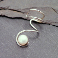 Sterling Pearl Ear Cuff  PEARLY SWIRL  Silver by SunnySkiesStudio