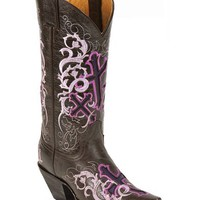 Justin Lavender Cross Embroidered Sepia Calf Cowgirl Boots - Snip Toe - Sheplers