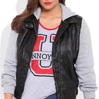 Faux Leather Moto Jacket with Fleece Sleeves and Hood