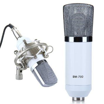 EXCELVAN® Condenser Microphone Recording Mic with Shock Mount BM-700 Ideal for Radio Broadcasting…