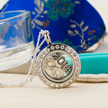 Origami Owl Silver P Living Locket Infinity 2014 Charms Chains Pendant Necklace