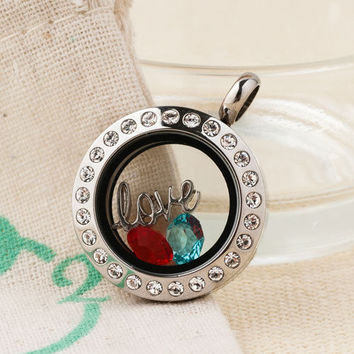 New Origami Owl Floating Living Memory Locket with Silver Love Birthstones Charm