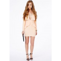 Missguided - Norika Peplum Tailored Mini Dress In Nude