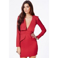 Missguided - Norika Peplum Tailored Mini Dress In Red