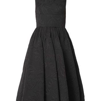 Bat-jacquard midi-length dress