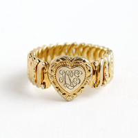 Vintage Gold Over Sterling Monogrammed Heart Expansion Bracelet - Mid Century WWII 1940s Stretch Sweetheart Jewelry Brown Gold Co
