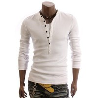 Doublju Mens Henley T-shirts with Long Sleeve WHITE (US-L)