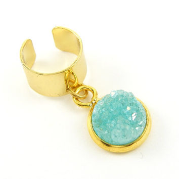 Aqua Druzy Ear Cuff Gold Ear Cuff with Gemstone Dangle Drop Jewelry